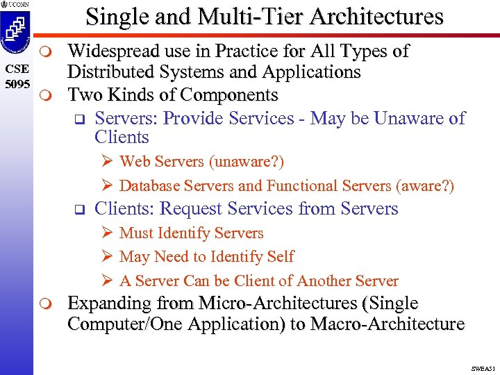 Single and Multi-Tier Architectures m CSE 5095 m Widespread use in Practice for All