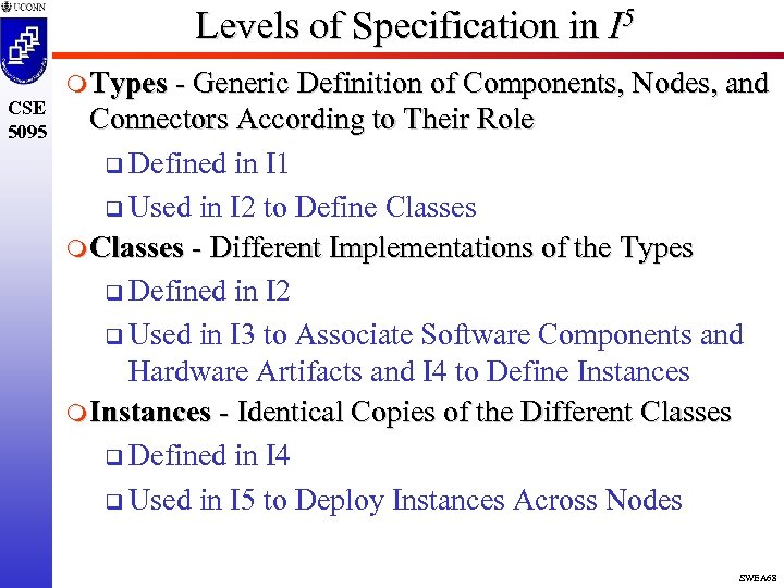Levels of Specification in I 5 CSE 5095 m Types - Generic Definition of