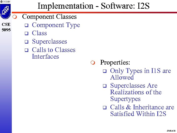 Implementation - Software: I 2 S m CSE 5095 Component Classes q Component Type