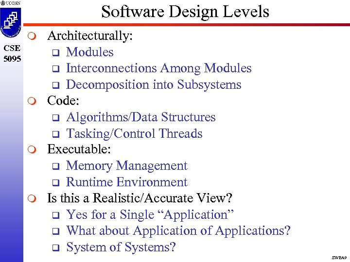 Software Design Levels m CSE 5095 m m m Architecturally: q Modules q Interconnections