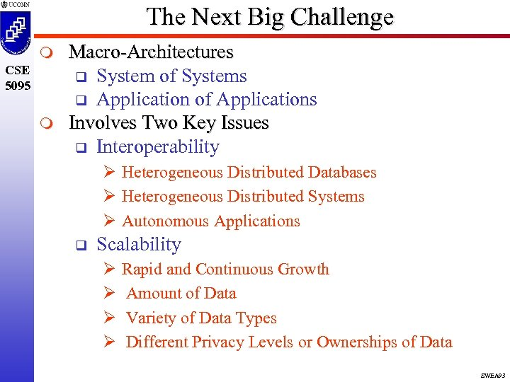The Next Big Challenge m CSE 5095 m Macro-Architectures q System of Systems q