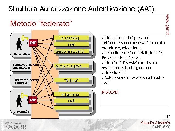"""Struttura Autorizzazione Autenticazione (AAI) Metodo """"federato"""" e-Learning Id. P Università A Fornitore di servizi"""