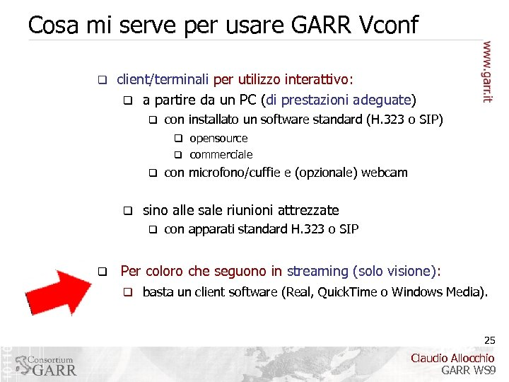 Cosa mi serve per usare GARR Vconf q client/terminali per utilizzo interattivo: q a