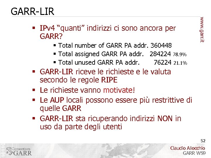 "GARR-LIR § IPv 4 ""quanti"" indirizzi ci sono ancora per GARR? § Total number"