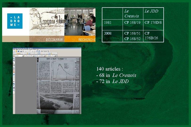 Le Crestois Le JDD 1981 CP 168/19 CP 176 D/8 2008 CP 168/51 CP