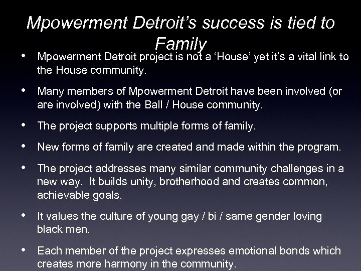 Mpowerment Detroit's success is tied to Family • Mpowerment Detroit project is not a
