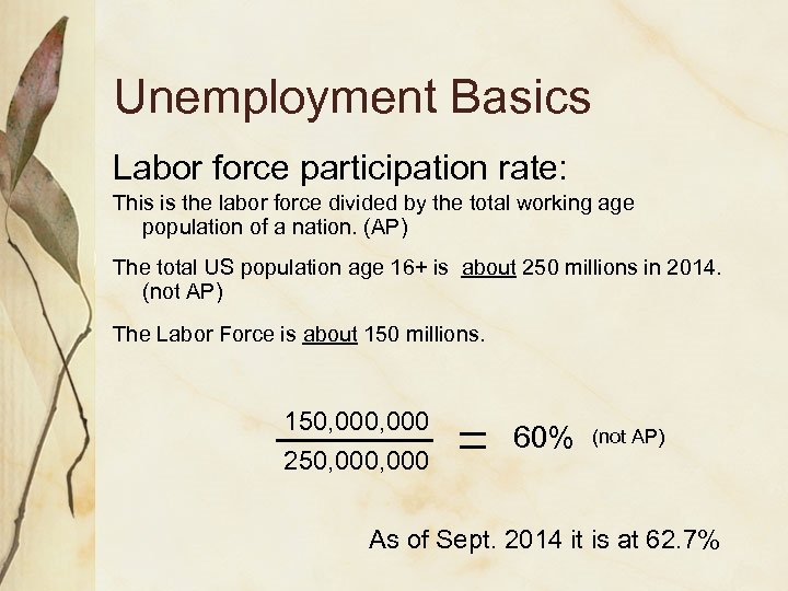 Unemployment Basics Labor force participation rate: This is the labor force divided by the