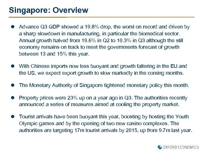 Singapore: Overview l Advance Q 3 GDP showed a 19. 8% drop, the worst