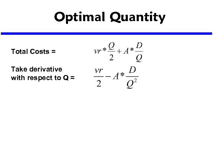 Optimal Quantity Total Costs = Take derivative with respect to Q =