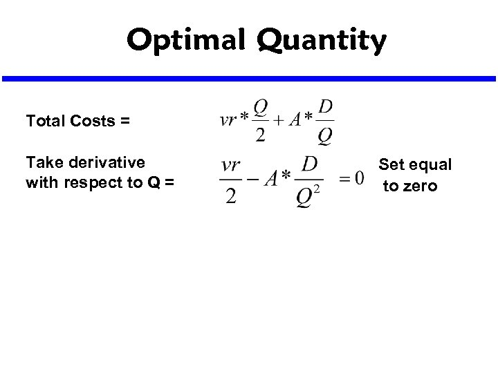 Optimal Quantity Total Costs = Take derivative with respect to Q = Set equal