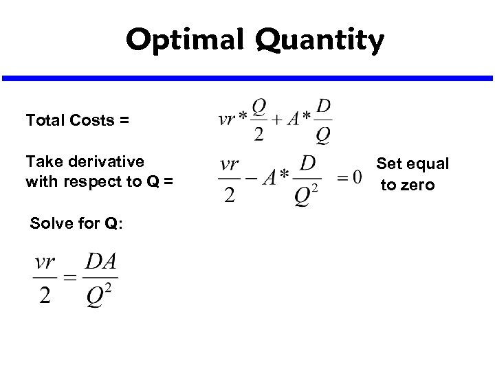 Optimal Quantity Total Costs = Take derivative with respect to Q = Solve for