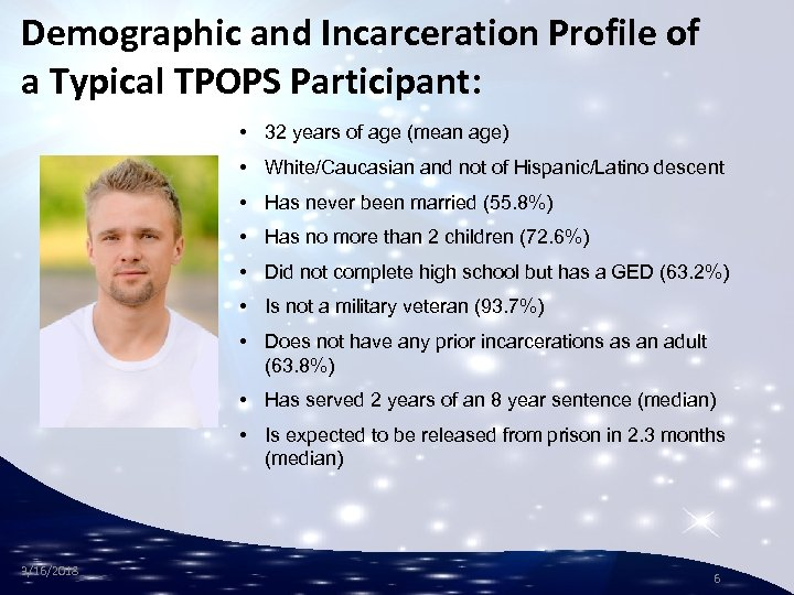 Demographic and Incarceration Profile of a Typical TPOPS Participant: • 32 years of age