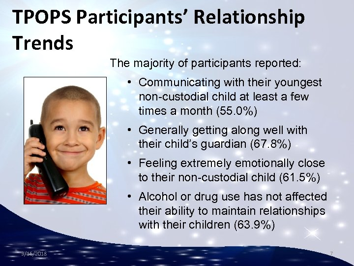 TPOPS Participants' Relationship Trends The majority of participants reported: • Communicating with their youngest