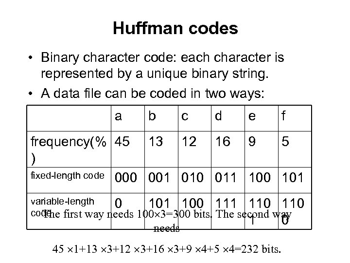 Huffman codes • Binary character code: each character is represented by a unique binary