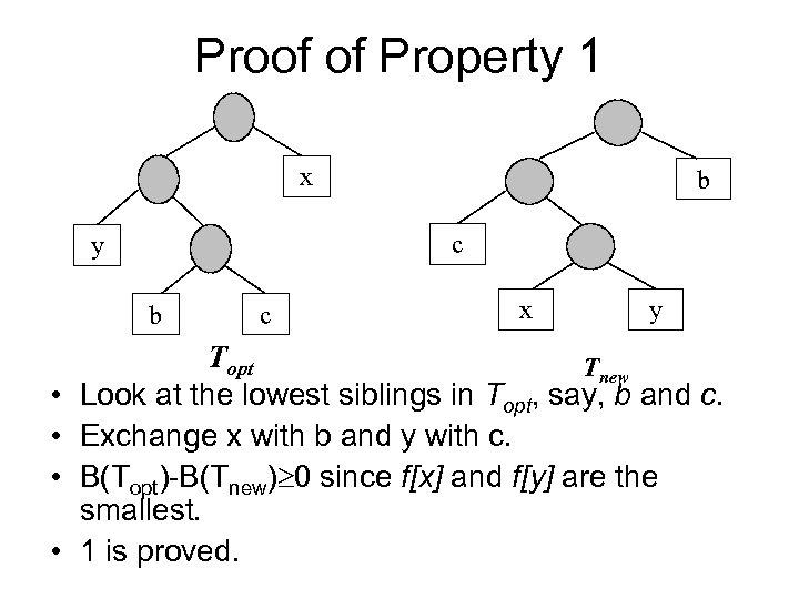 Proof of Property 1 x c y b • • b c x y