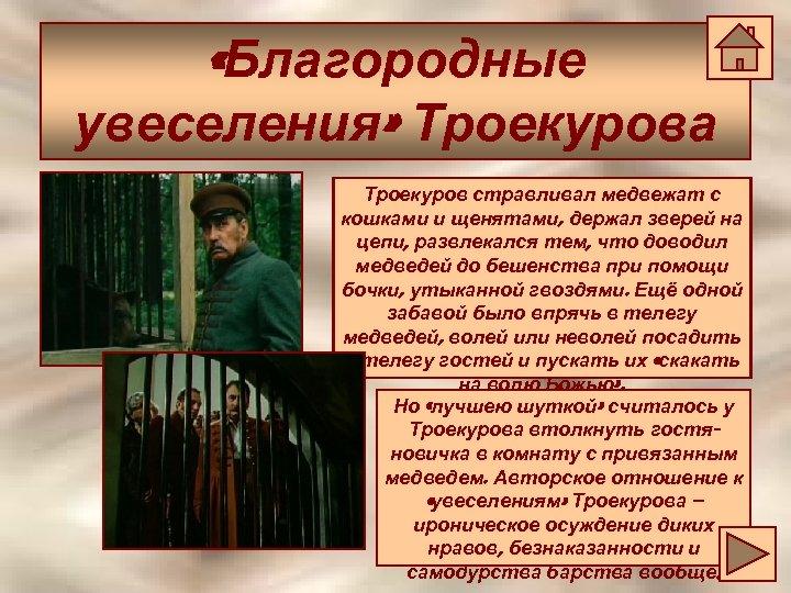 «Благородные увеселения» Троекурова Троекуров стравливал медвежат с кошками и щенятами, держал зверей на