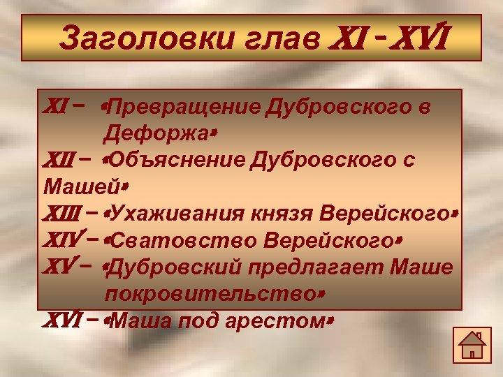 Заголовки глав Xi - XVi Xi – «Превращение Дубровского в Дефоржа» Xii – «Объяснение