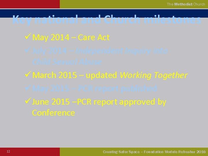 The Methodist Church Key national and Church milestones ü May 2014 – Care Act