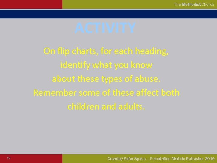 The Methodist Church ACTIVITY On flip charts, for each heading, identify what you know