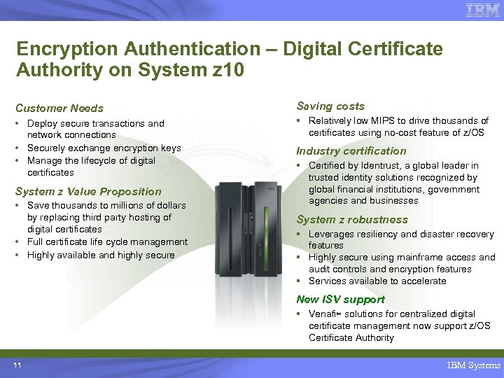 Encryption Authentication – Digital Certificate Authority on System z 10 Customer Needs Saving costs