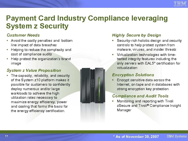 Payment Card Industry Compliance leveraging System z Security Customer Needs Highly Secure by Design