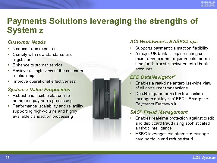 Payments Solutions leveraging the strengths of System z Customer Needs ACI Worldwide's BASE 24