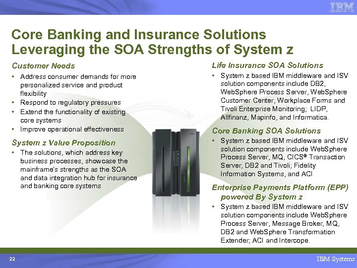 Core Banking and Insurance Solutions Leveraging the SOA Strengths of System z Customer Needs