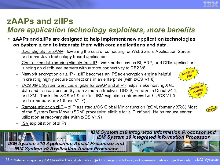 z. AAPs and z. IIPs More application technology exploiters, more benefits § z. AAPs