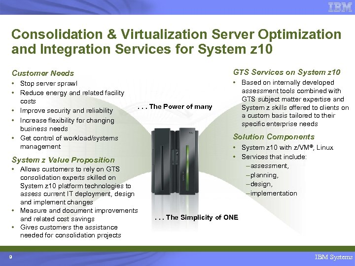 Consolidation & Virtualization Server Optimization and Integration Services for System z 10 Customer Needs