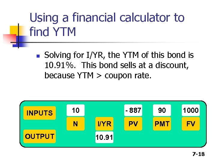 Using a financial calculator to find YTM n Solving for I/YR, the YTM of