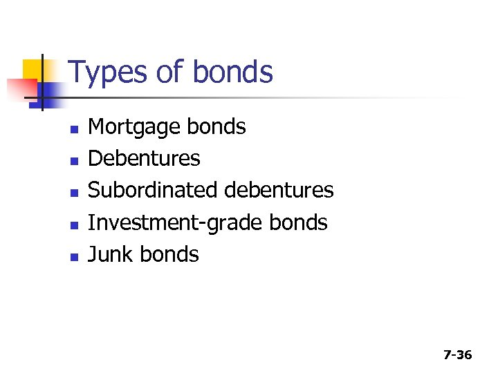 Types of bonds n n n Mortgage bonds Debentures Subordinated debentures Investment-grade bonds Junk