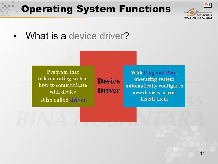Operating System Functions • What is a device driver? Program that tells operating system