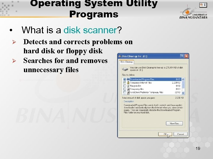 Operating System Utility Programs • What is a disk scanner? Ø Ø Detects and