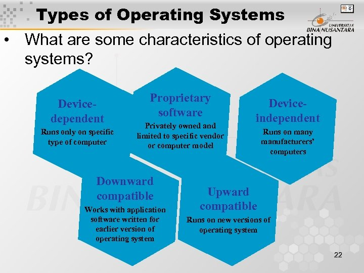 Types of Operating Systems • What are some characteristics of operating systems? Devicedependent Runs