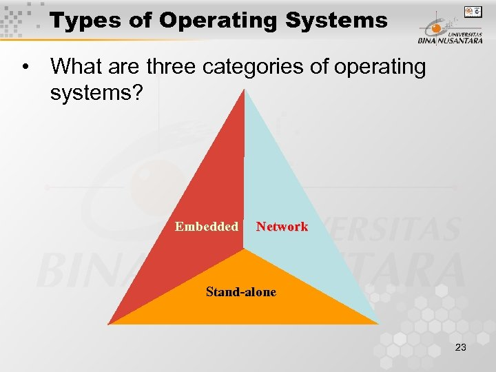 Types of Operating Systems • What are three categories of operating systems? Embedded Network