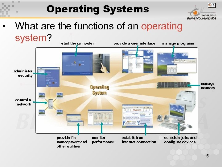 Operating Systems • What are the functions of an operating system? start the computer