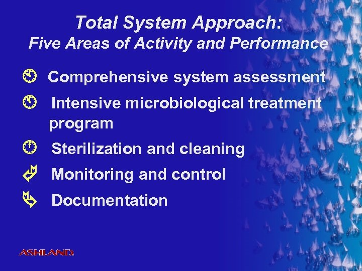 Total System Approach: Five Areas of Activity and Performance Comprehensive system assessment Intensive microbiological