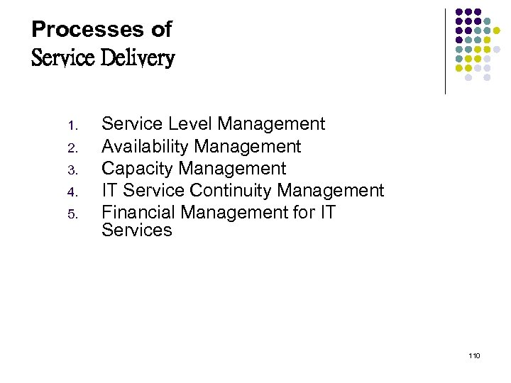 Processes of Service Delivery 1. 2. 3. 4. 5. Service Level Management Availability Management