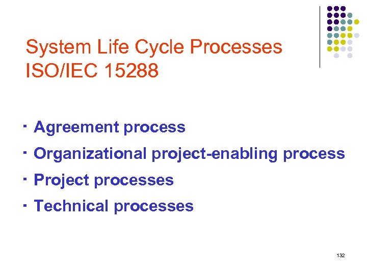 System Life Cycle Processes ISO/IEC 15288 ‧ Agreement process ‧ Organizational project-enabling process ‧