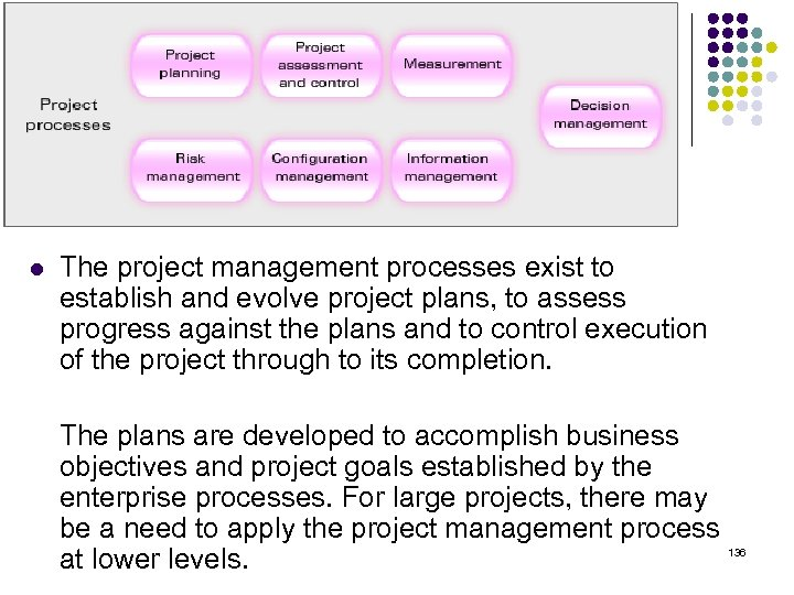 l The project management processes exist to establish and evolve project plans, to assess