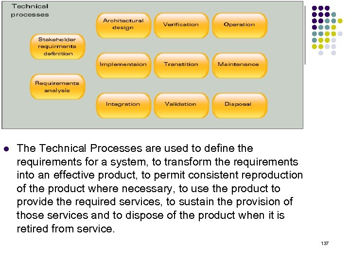 l The Technical Processes are used to define the requirements for a system, to