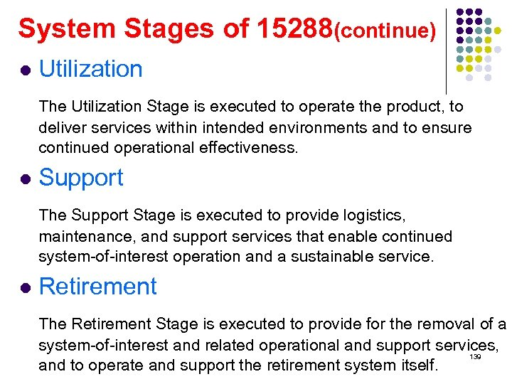 System Stages of 15288(continue) l Utilization The Utilization Stage is executed to operate the