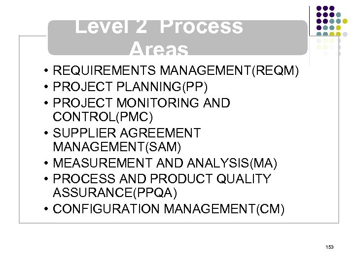 Level 2 Process Areas • REQUIREMENTS MANAGEMENT(REQM) • PROJECT PLANNING(PP) • PROJECT MONITORING AND