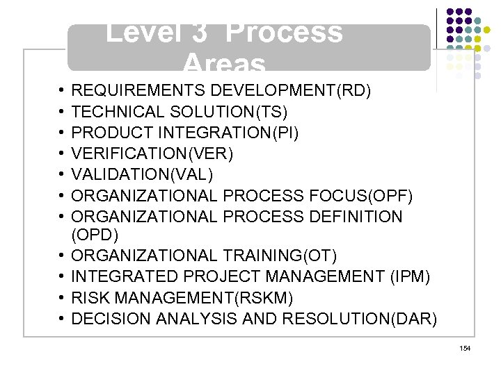 • • • Level 3 Process Areas REQUIREMENTS DEVELOPMENT(RD) TECHNICAL SOLUTION(TS) PRODUCT INTEGRATION(PI)