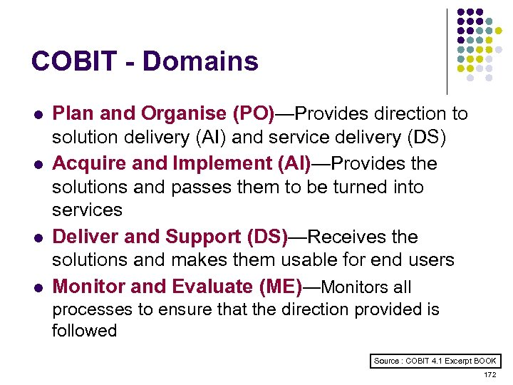 COBIT - Domains l l Plan and Organise (PO)—Provides direction to solution delivery (AI)