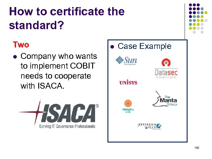 How to certificate the standard? Two l Company who wants to implement COBIT needs