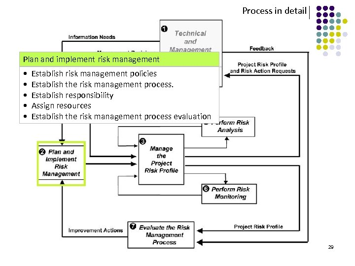 Process in detail Plan and implement risk management • Establish risk management policies •