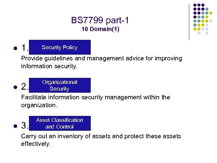 BS 7799 part-1 10 Domain(1) l 1. Security Policy Provide guidelines and management advice