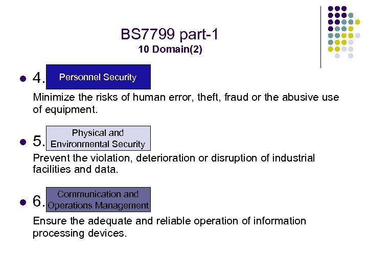 BS 7799 part-1 10 Domain(2) l 4. Personnel Security Minimize the risks of human