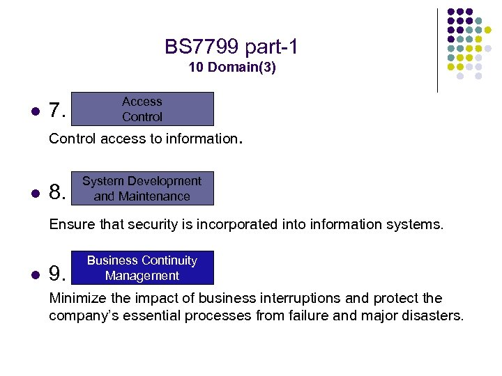 BS 7799 part-1 10 Domain(3) l 7. Access Control access to information. l 8.
